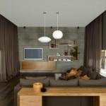 Sala de estar con cortinas blackout roller y de riel